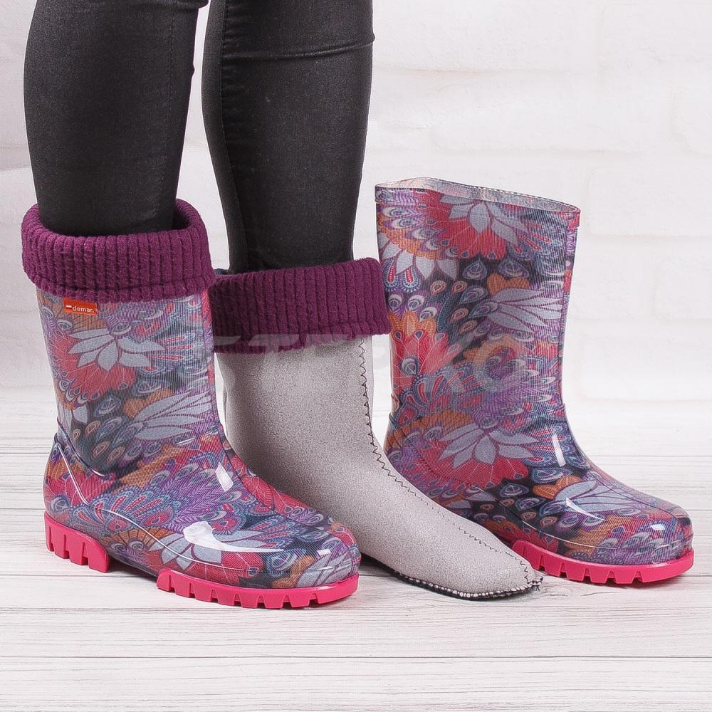 Резинові чоботи для дівчики демар перо
