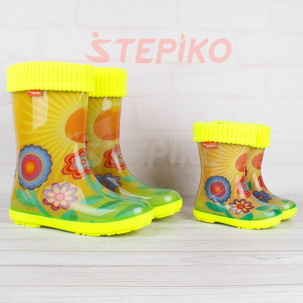 дитячі жовті гумові чоботи демар сонечко